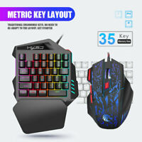 One-Hand Gaming Keyboard and Mouse Keypad Backlight for LOL Dota PUBG Fortnite
