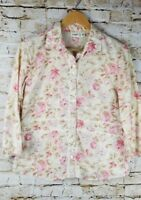 Cato Womens Size M 100% Cotton Ivory Pink Rose Print Lace Shirt Top Blouse