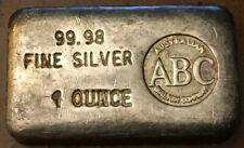 ABC AUSTRALIAN BULLION CO Vintage 1 oz Rare Silver Ingot  Beautiful Example!