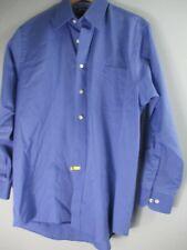 Cambridge Men's Size Large L Solid Blue Cotton Long Sleeve Button-Front Shirt