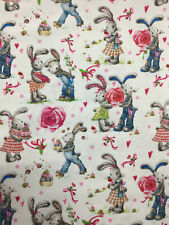 Ivory Love Bunny Rabbit 100% Printed Cotton Fabric. 150gsm craft quilting