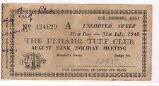 Lottery - Malaysia, Penang Turf Club $1 sweep ticket A, 1948 (As is)