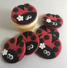 12  Edible Sugarpaste LADYBIRD Cupcake Toppers-  BIRTHDAY CHRISTENING