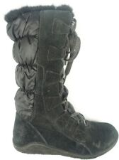 Timberland Black Suede Faux Fur Lined Lace Up Mid Calf Boots Women Sz 6.5 M