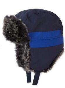 The Childrens Place Blue Faux Fur Trim Trapper Hat Baby Boys Size XS (6-12 Month