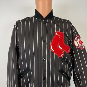 Felco Boston Red Sox Embroidered Pinstripe Varsity Jacket Vtg 90s MLB Made USA M
