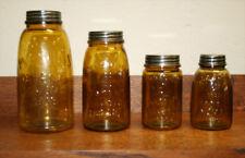 Amber Mason Fruit Jars:1/2 Gal, Quart, Pint & Midget—Set of 4 Canning Jars-1858