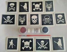 Pirate & skulls glitter temporary tattoo set     boys birthday