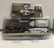 2015 Ford F-150 BLACK & Homeland Security Police Boat * Greenlight  Hitch & Tow