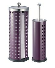 Modern Design 2 pieces Set - toilet brush holder & paper holder set purple metal
