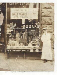 Feislers Drug Store Erie Pennsylvania 1909 Photograph Black & White On Linen