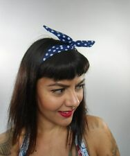 Bandeau foulard cheveux rigide cordon maléable tissu bleu marine pois blancs