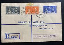 1937 Singapore Malaya SS First Day Cover King George VI Coronation KGVI