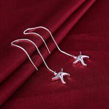 Womens 925 Sterling Silver Starfish Threader Long Drop Dangle Earrings #E170