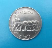 ITALIEN 50 CENTESIMI 1921 ~PLAIN EDGE-GLATTER RAND~