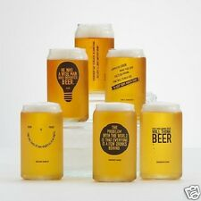 Beer Can Shaped Pilsner Glass Set 12-Pack Funny Beer Drinking Sayings Gift  NEW
