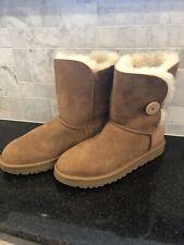 Women's UGG Bailey Button II Chestnut Boots- Size 9-#1016226