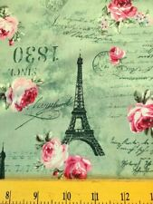 Quilt Gate Fabrics Eiffel Towers Pink Roses & French Script Green 4 Quilts