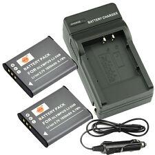 DSTE 2x LI-50B DB-100 Battery + Charger for OLYMPUS SP-800UZ u Tough TG-870 Li92