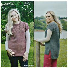 Knitting Pattern Ladies Drop Sleeve Lace Yoke Tunic Alfresco Aran Twilleys 9209