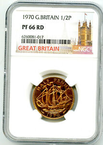 1970 GREAT BRITAIN 1/2 P HALF PENNY NGC PF66 RD PROOF LAST YEAR ISSUE HALFPENNY