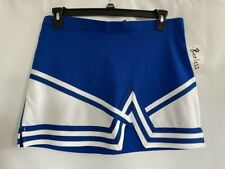 Chasse Womens Cheerleading Skirt White Blue Crossover Button Side Slit XL New