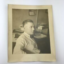 Vintage Sepia Photo Man Sitting in Office Glasses Bow Tie 10 x 8