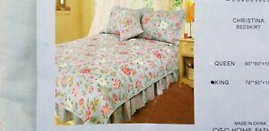 CGG Home Fashions La Rochelle Collection Christina King Bedskirt Bed Skirt NIP