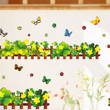 Clover Butterfly Ladybug Wall Border decal Removable Windows Stickers kids decor