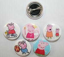 Peppa Pig BADGE Metal Buttons Party Favour Lolly Bag Loot Birthday Card Princess