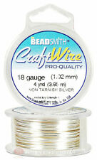 Silver 18GA Round Craft Wire Jewelry Beading Wrapping Jump Rings 4 Yds