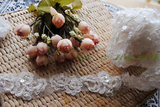 32 inches Ivory beaded embroidery sequined lace for wedding dress shoes Decor