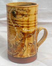 Studio Pottery Signed Leonard (Len) Stockley Weymouth Slipware Tall Dragon Mug