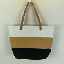 Magid Paper Straw Tote Bag White Tan Brown Striped Color Blocked