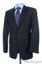 BROOKS BROTHERS GOLDEN FLEECE Navy Striped Wool Jacket Pants SUIT Bespoke 38 S