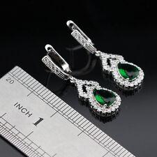 Emerald & White Topaz Gemstone 925 Silver Earrings + gift box