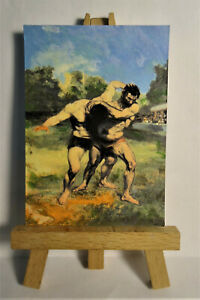 The Wrestlers ACEO Original PAINTING by Ray Dicken a Gustave Courbet