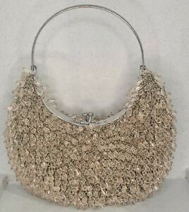Beaded Champagne Silver  Satin Principles Evening Bag Wedding Party Stunning