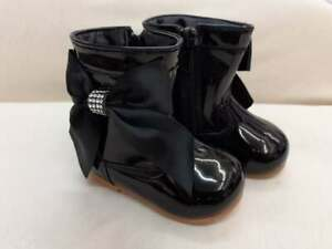 Baby/Toddler Girls Black Patent Spanish Boots - Bow On Side - Zip Fastening