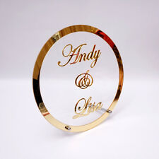 Round Customized Wedding Name Mirror Frame Acrylic Table Stand Gifts With Nail