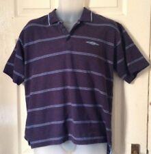 Umbro Mens Polo t-shirt Size UK Large two tone blue striped cotton blend
