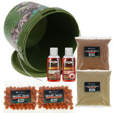 Carp Fishing Bait Bucket Set 2x Boilies + 2x 50ml Liquids & 2x Groundbait Packs