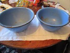 2 Blue enamelware deep bowls. Black trim.