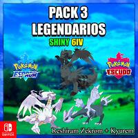 Reshiram+ Zekrom + Kyurem evento Pokémon Espada Escudo🚀ENTREGA EN 10 MINUTOS 🚀