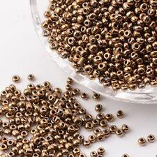 12/0 Glass Seed Beads, Iris Round, DarkGoldenrod, 2mm; about 30000pcs/pound
