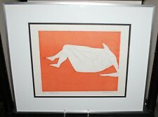 Vintage Mid Century Modern Irving Amen Etching Nude #17. Reclining Nude. Signed