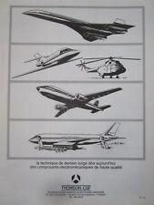 10/1970 PUB THOMSON-CSF AVIONIQUE CONCORDE AIRBUS MERCURE PUMA ORIGINAL AD