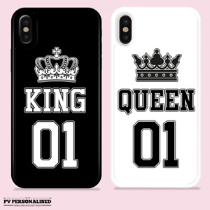 PERSONALISED CASE KING QUEEN GIFT NAME HARD COVER FOR APPLE IPHONE 11 12 SE 8 7
