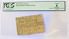 New Listing1754 North Carolina Colonial Currency 5 Shillings Signed Pre Revolutionary War