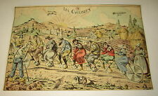 Old c.1900 Antique - French Game PRINT  BICYCLE Les Cyclistes Humerous / Cartoon